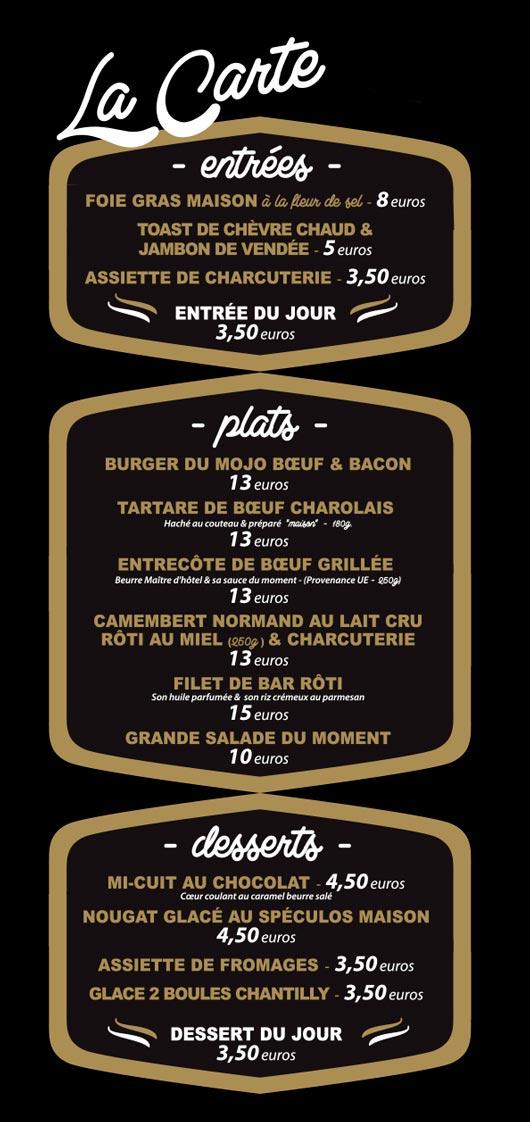 Le Mojo Bar Brasserie carte part O1 Nantes centre ville rue mlarechal joffre